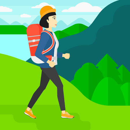 hiking: An asian woman with backpack hiking in mountains vector flat design illustration. Square layout. Illustration