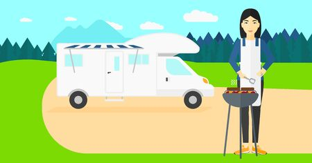 An asian woman preparing barbecue  on the background of motorhome in the forest vector flat design illustration. Horizontal layout. Ilustração