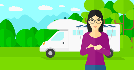 motorhome: An asian woman standing on the background of motorhome in the forest vector flat design illustration. Horizontal layout. Illustration