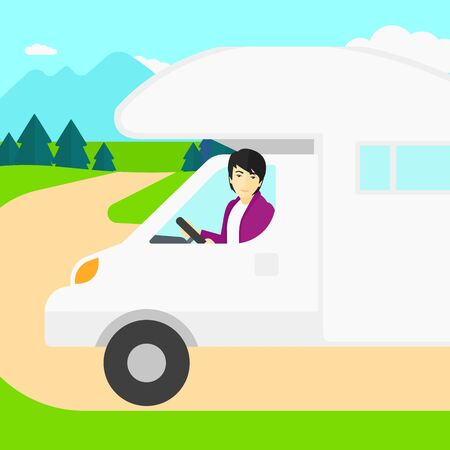 motor home: An asian man driving a motor home in the forest vector flat design illustration. Square layout.