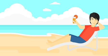 chaise longue: An asian man sitting in a chaise longue and holding a cocktail in hand on the background of sand beach with blue sea vector flat design illustration. Horizontal layout.