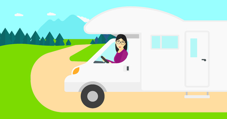 motor home: An asian woman driving a motor home in the forest vector flat design illustration. Horizontal layout. Illustration