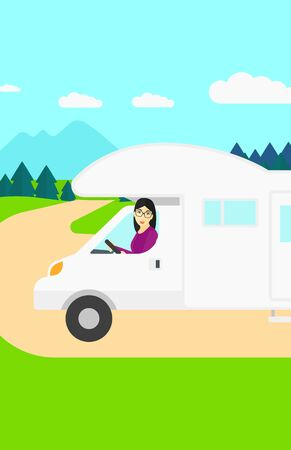 An asian woman driving a motor home in the forest vector flat design illustration. Vertical layout. Vectores
