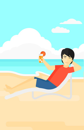 chaise longue: An asian man sitting in a chaise longue and holding a cocktail in hand on the background of sand beach with blue sea vector flat design illustration. Vertical layout. Illustration