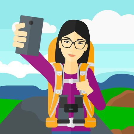 hilly: An asian woman making selfie on the background of hilly countryside vector flat design illustration. Square layout.