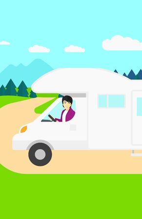 motor home: An asian man driving a motor home in the forest vector flat design illustration. Vertical layout.