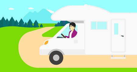 motor home: An asian man driving a motor home in the forest vector flat design illustration. Horizontal layout. Illustration