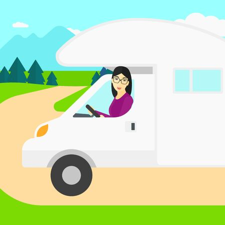 female driver: An asian woman driving a motor home in the forest vector flat design illustration. Square layout. Illustration