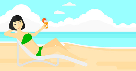 longue: An asian woman sitting in a chaise longue and holding a cocktail in hand on the background of sand beach with blue sea vector flat design illustration. Horizontal layout.