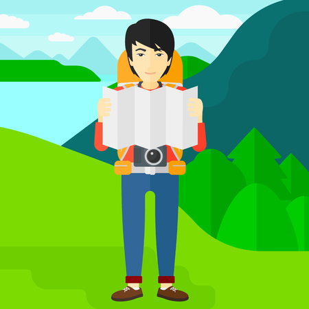 An asian man with a camera looking at a map on the background of landscape with mountains and lake vector flat design illustration. Square layout. 向量圖像