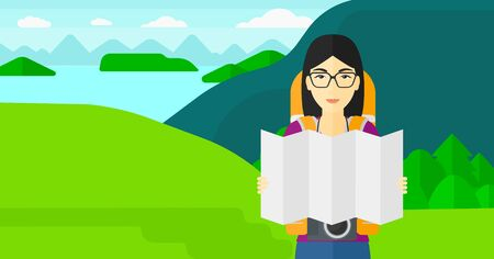 looking at camera: An asian woman with a camera looking at a map on the background of landscape with mountains and lake vector flat design illustration. Horizontal layout.