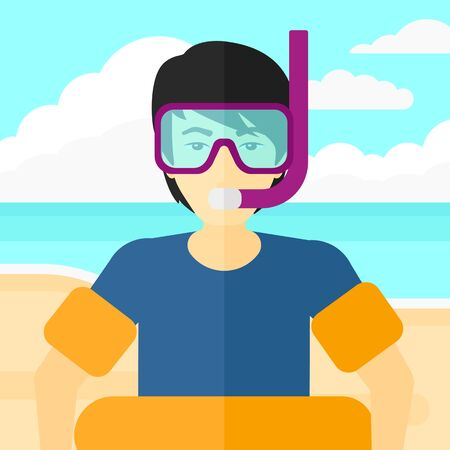 rubber ring: An asian man standing in mask, tube and rubber ring on the background of sand beach with blue sea vector flat design illustration. Square layout.