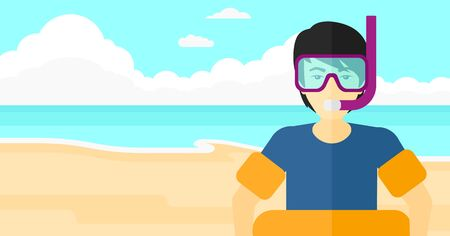 rubber tube: An asian man standing in mask, tube and rubber ring on the background of sand beach with blue sea vector flat design illustration. Horizontal layout.