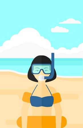 rubber ring: An asian woman standing in mask, tube and rubber ring on the background of sand beach with blue sea vector flat design illustration. Vertical layout.