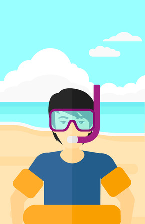 rubber tube: An asian man standing in mask, tube and rubber ring on the background of sand beach with blue sea vector flat design illustration. Vertical layout. Illustration