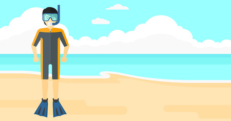 flippers: An asian man standing in diving suit, flippers, mask and tube on the background of sand beach with blue sea vector flat design illustration. Horizontal layout.