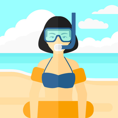 rubber tube: An asian woman standing in mask, tube and rubber ring on the background of sand beach with blue sea vector flat design illustration. Square layout.