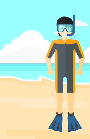 man underwater: An asian man standing in diving suit, flippers, mask and tube on the background of sand beach with blue sea vector flat design illustration. Vertical layout.
