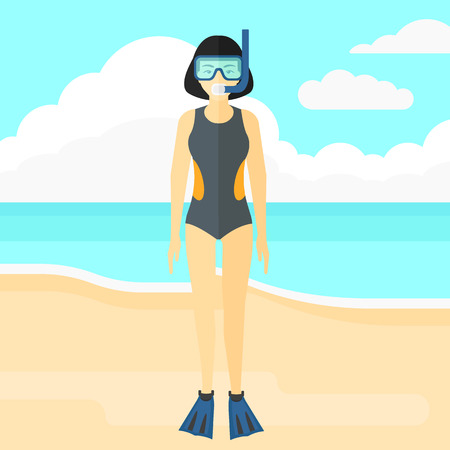 flippers: An asian woman standing in swimsuit, flippers, mask and tube on the background of sand beach with blue sea vector flat design illustration. Square layout.