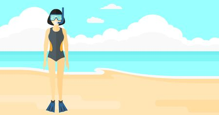 An asian woman standing in swimsuit, flippers, mask and tube on the background of sand beach with blue sea vector flat design illustration. Horizontal layout.