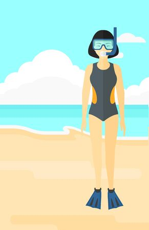 flippers: An asian woman standing in swimsuit, flippers, mask and tube on the background of sand beach with blue sea vector flat design illustration. Vertical layout.