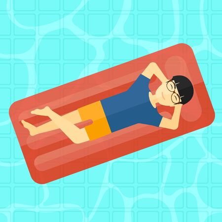lying in bed: An asian man relaxing on the air bed in the swimming pool vector flat design illustration. Square layout.