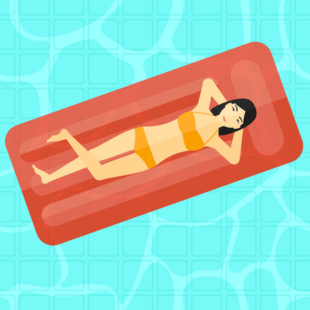 woman lying in bed: An asian woman relaxing on the air bed in the swimming pool vector flat design illustration. Square layout. Illustration