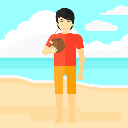 An asian man drinking a coconut milk on the background of sand beach with blue sea vector flat design illustration. Square layout.