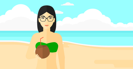 woman drinking milk: An asian woman drinking a coconut milk on the background of sand beach with blue sea vector flat design illustration. Horizontal layout.