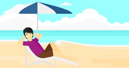 An asian man sitting in a chaise longue under umbrella on the background of sand beach with blue sea vector flat design illustration. Horizontal layout.