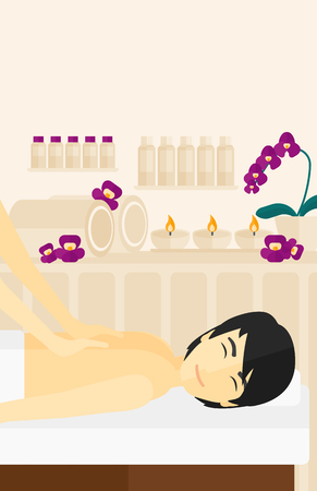An asian man getting a back massage on the background of spa center vector flat design illustration. Vertical layout.