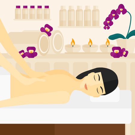 An asian woman getting a back massage on the background of spa center vector flat design illustration. Square layout.