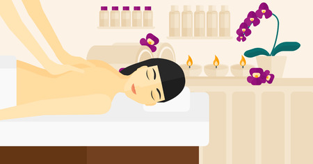 topless women: An asian woman getting a back massage on the background of spa center vector flat design illustration. Horizontal layout. Illustration