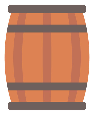 wine background: Wooden barrel for wine vector flat design illustration isolated on white background.
