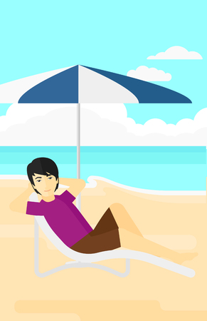 An asian man sitting in a chaise longue under umbrella on the background of sand beach with blue sea vector flat design illustration. Vertical layout. Illustration