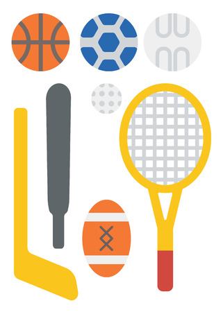 Variety of sports equipment vector flat design illustration isolated on white background. 向量圖像