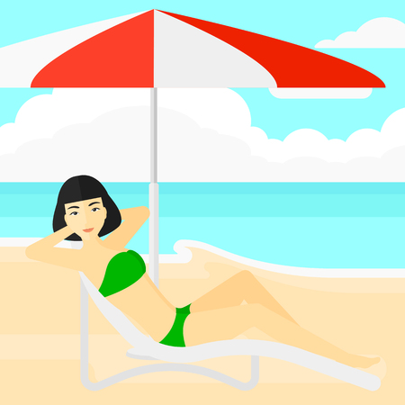 chaise longue: An asian woman with the beard sitting in a chaise longue under umbrella on the background of sand beach with blue sea vector flat design illustration. Square layout.