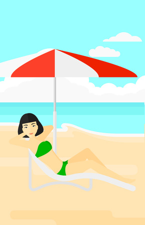 chaise longue: An asian woman with the beard sitting in a chaise longue under umbrella on the background of sand beach with blue sea vector flat design illustration. Vertical layout.
