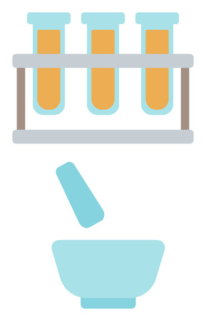 Laboratory glassware with mortar and pestle vector flat design illustration isolated on white background.  イラスト・ベクター素材