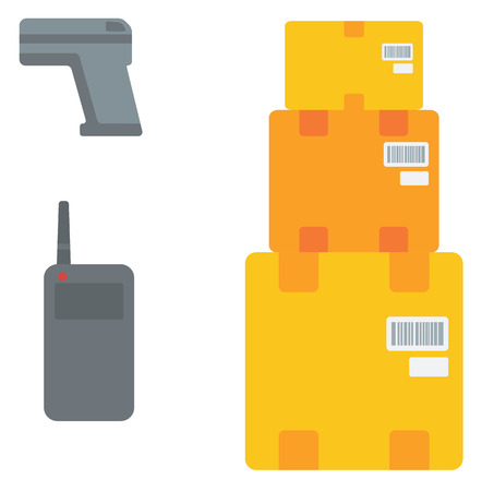 transceiver: Cardboard boxes, barcode scanner and radio set vector flat design illustration isolated on white background. Illustration