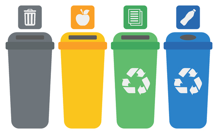 Four colored recycling bins vector flat design illustration isolated on white background.