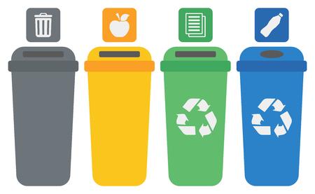 Quatre bacs de recyclage de couleur vecteur plat conception illustration isolé sur fond blanc. Banque d'images - 54924454