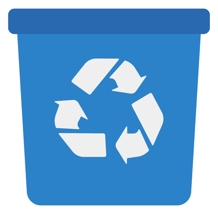 Blue recycle garbage can vector flat design illustration isolated on white background.