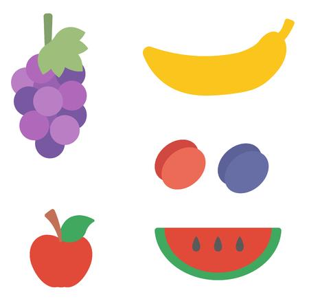 포도, 바나나, 매 화, 사과, 수 박 벡터 평면 디자인 일러스트 레이 션 흰색 배경에 고립.