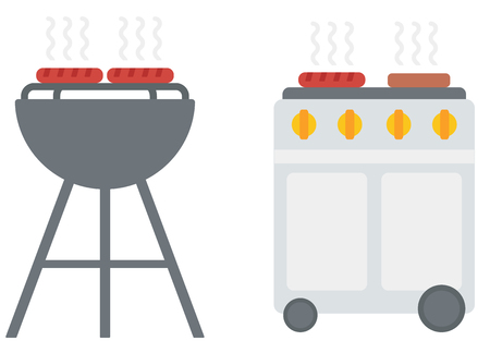 Kettle barbecue grill with cover and barbecue gas grill vector flat design illustration isolated on white background. 일러스트