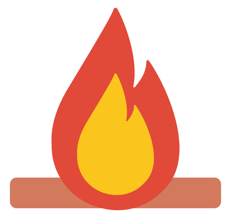 brightly: Camp fire burning brightly vector flat design illustration isolated on white background.