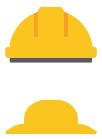 panama hat: Hard hat and summer hat vector flat design illustration isolated on white background.