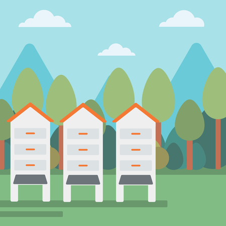 Background of beehives in meadow vector flat design illustration. Square layout. Illustration