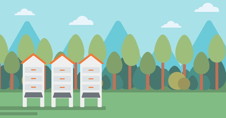 Background of beehives in meadow vector flat design illustration. Horizontal layout.