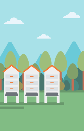beekeeping: Background of beehives in meadow vector flat design illustration. Vertical layout.